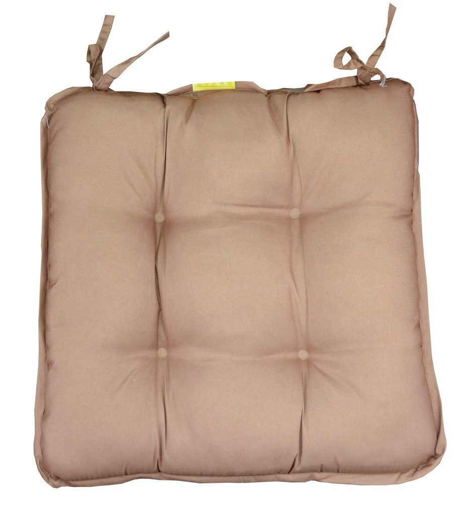 4 x Premium Padded Chair Cushions Quilted Seat Pads with Ties 38x38x5cm By Dreams Gate (Chocolate) Noor Textiles Pvt