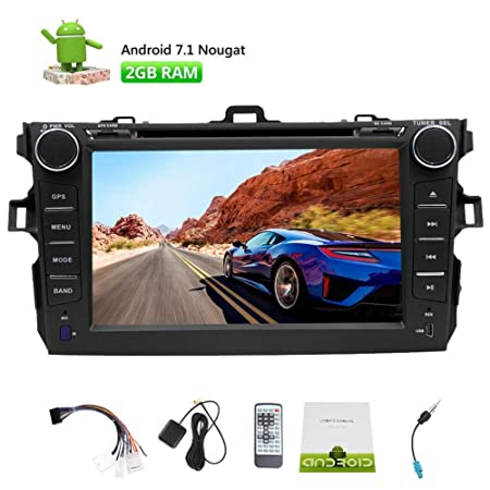 Android 7.1 Car Stereo for Toyota Corolla Support Year 2007-2013 Octa-core in Dash Car DVD Player GPS Navigation Bluetooth HD Touchscreen Radio Support WiFi 4G Mirror Link OBD2 SWC