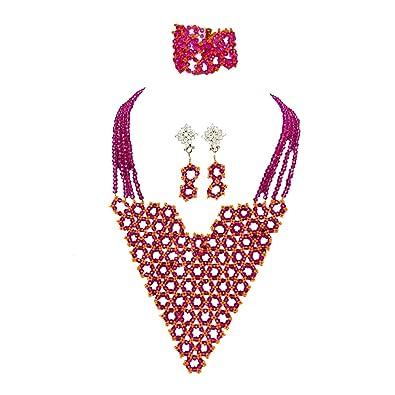 de style élégant belle qualité offre spéciale Neuf africaine Ensemble de bijoux de mariage Perles Bijoux ...
