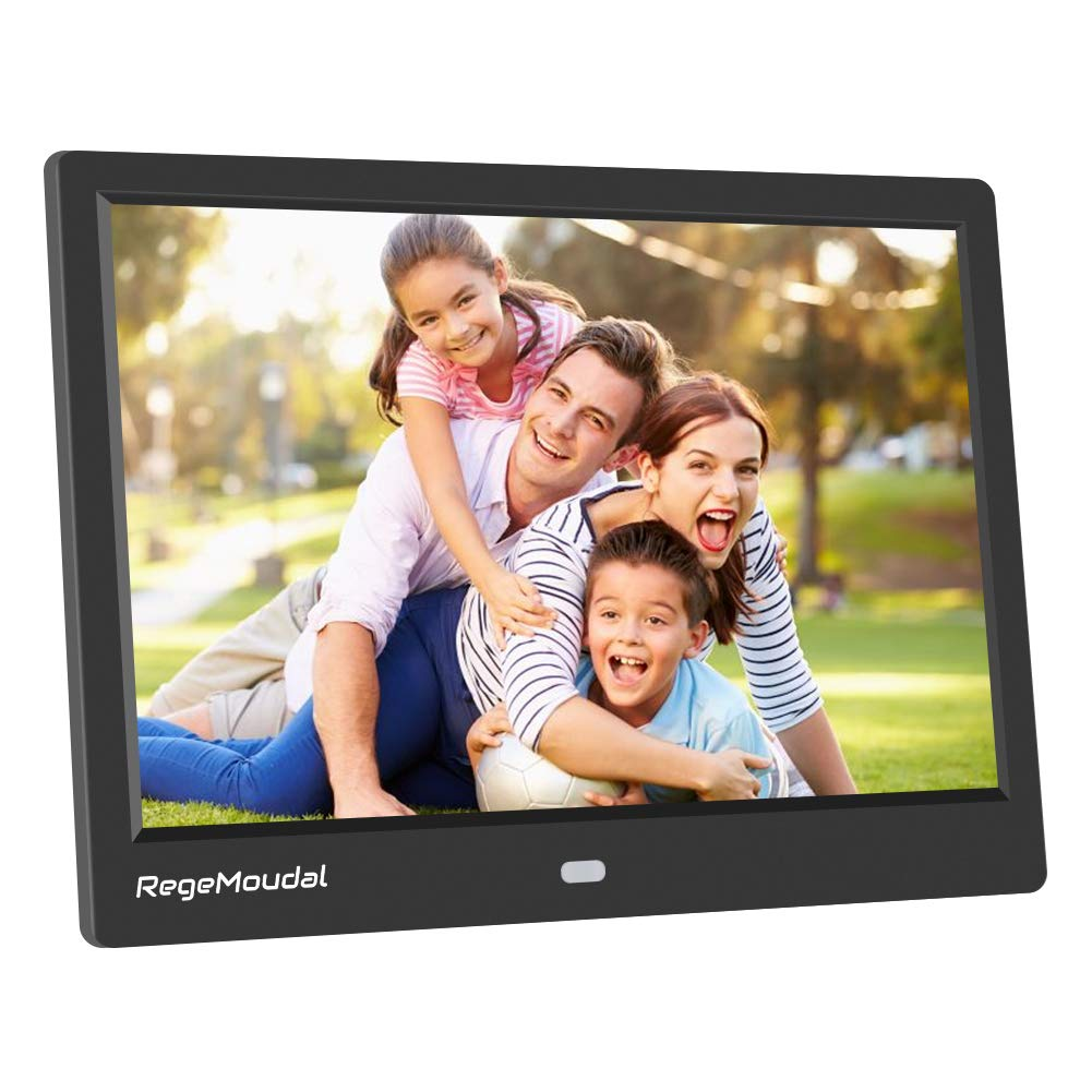 RegeMoudal 10 inch Digital Photo Frames with High Resolution 1280 X 800 IPS LCD Panel, Support 64G SD Card and USB Stick Various Display Modes, for 1080P Videos/Pictures/Calendar/Time/Music Black by RegeMoudal (Image #1)
