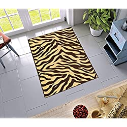"Non-Skid Slip Rubber Back Antibacterial 3x5 ( 3'3"" x 4'7"" ) Door Mat Rug Brown Zebra Animal Print Stripes Modern Thin Low Pile Machine Washable Indoor Outdoor Kitchen Hallway Entry"