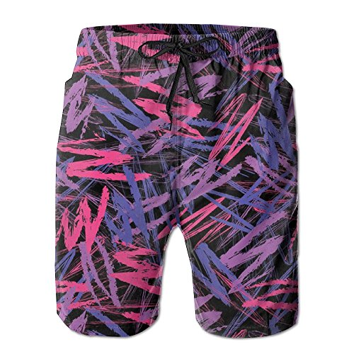 (Crayon Scribbles Neon Colors Retro 80s Abstract Electric Men Swim Trunks Quick Dry Board Shorts Pants)