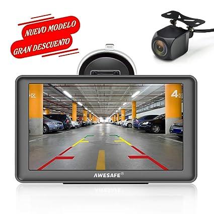 GPS para Coches con 7 Pulgadas Pantalla LCD con Bluetooth y Cámara Trasera, Navegador GPS para Coche y Camión con Actualizaciones de Mapas para Toda ...