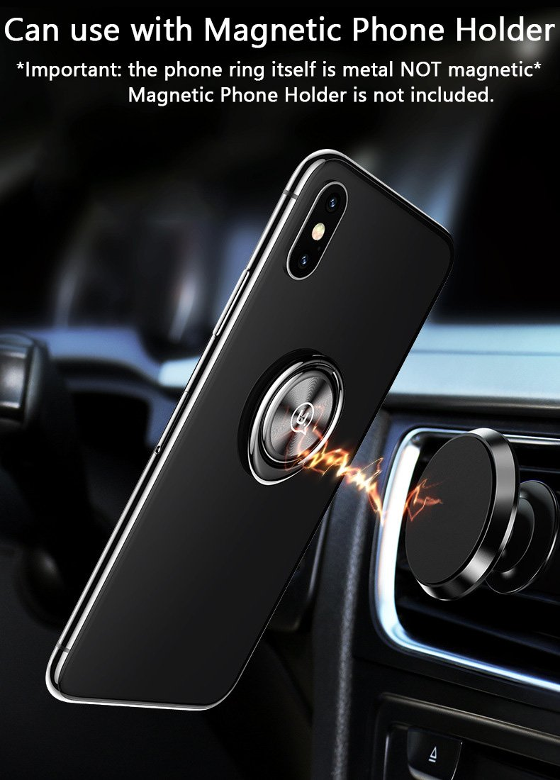 Silver for iPhone X 8 7 Plus 6S 6 5s 5 SE Attom Tech Thin Cell Phone Ring Stand for Magnetic Car Mount with Black Car Mount Hook Ultra Slim Phone Ring Holder Note 8 5 4 2 Galaxy S8 S7 S6 Edge