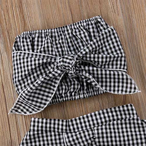 Baby Girl Toddler 2/3 Sleeve Black Crop Top + Grey Shorts Bowknot Skirts Outfit Clothes 2Pcs/ Set (Plaid, 6-12 Months) by Mornbaby (Image #2)