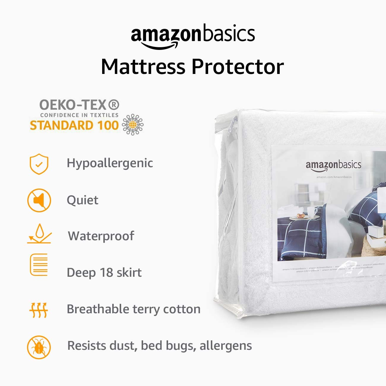 Basics Hypoallergenic Waterproof Fitted Mattress Protector Cover Twin