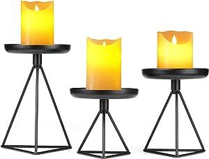 "Bikoney Candle Holder for Home Decor Candleholder for Pillar Candle Metal Geometric Candlesticks Set of 3 Blcack 7.25"", 5.5"", 4.5"""