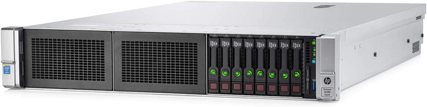 HPE ProLiant DL380 Gen9 2U RackMount 64-bit Server + 2×8-Core E5-2640v3 Xeon 2.6GHz CPUs + 64GB PC4-2133P RAM + 8×600GB 10K SAS SFF HDD, P440ar RAID, 4×GigaBit NIC, 2×Power Supplies, NO OS (Renewed)