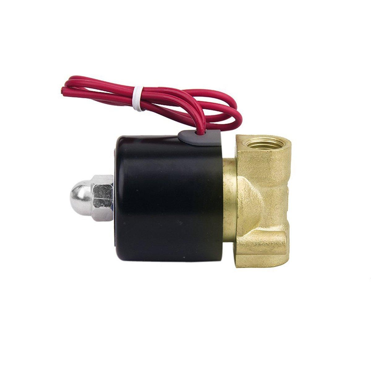 UEETEK CA 220V v/álvula de solenoide el/éctrico de 1//4 de pulgada para aire agua