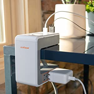 Echogear Desk Clamp Power Station with 1080J of Surge Protection - U Shaped Power Strip with 6 AC Outlets, 2 Standard USBs, 1 USB-C Port – Includes Long 6ft Cord & Switch for Manual Power Control
