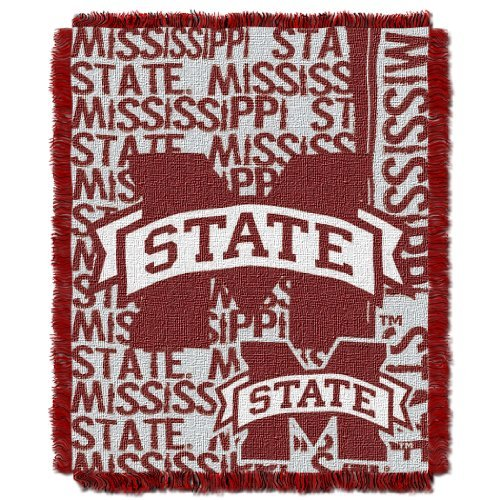 The Northwest Company Officially Licensed NCAA Mississippi State Bulldogs Double Play Jacquard Throw Blanket, 48