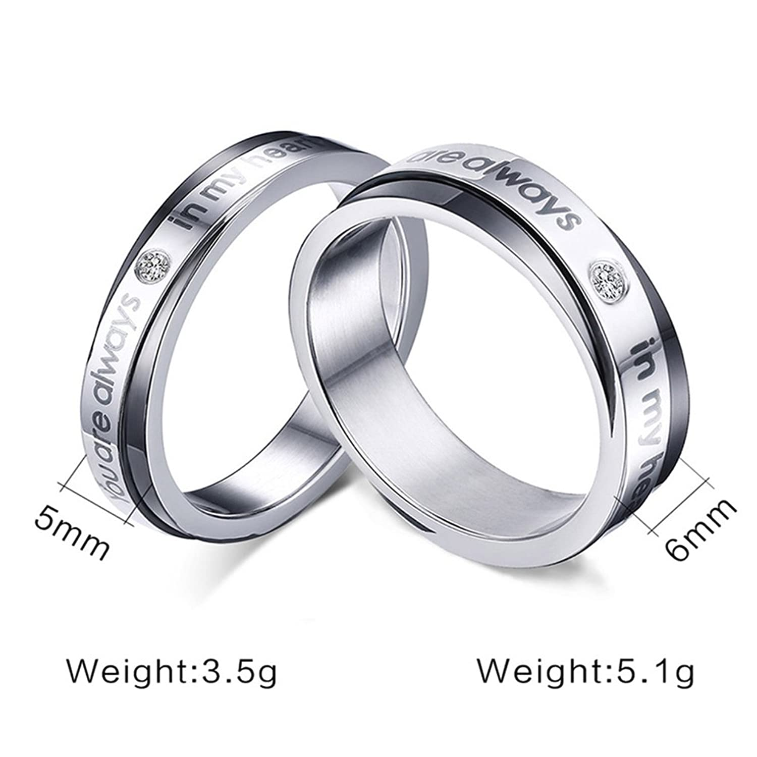His & Her Stainless Steel Couple Matching Rings Band Set for Promise Engagement Wedding Valentine's Day Gift ( You are always in my heart)
