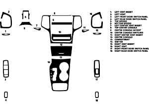 Rdash Dash Kit Decal Trim for Jeep Grand Cherokee 2011-2013 - Carbon Fiber 4D (Black)