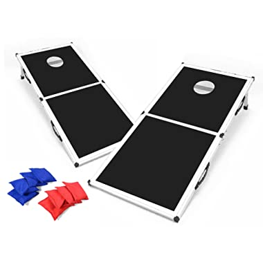 Backyard Champs Cornhole Set with MDF Board and Aluminum Frame - 8 Bags Included (New and Improved)