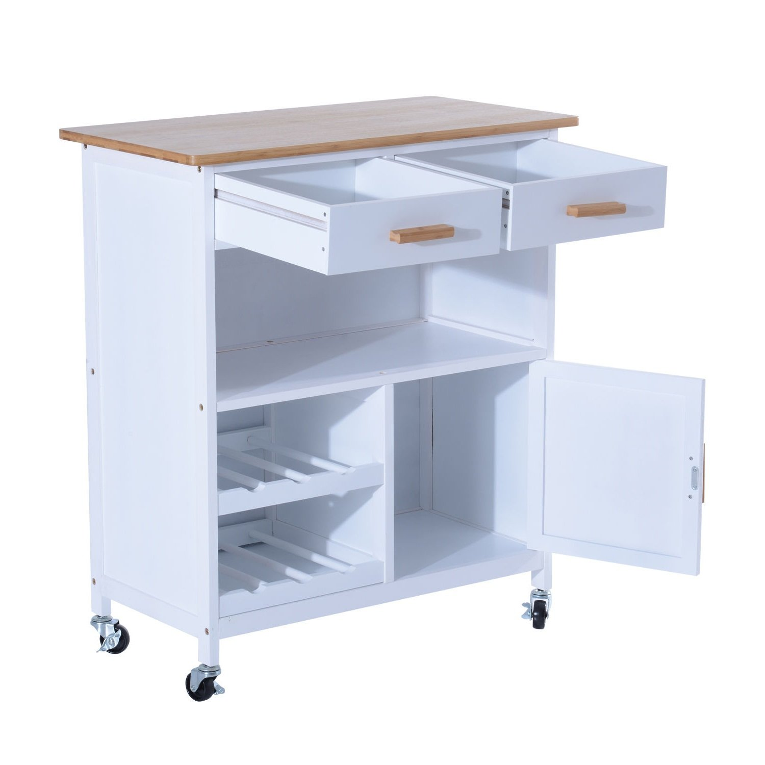 NEW White, Wood MDF Kitchen Trolley Dining Cart Drawer Storage Rolling Wheels