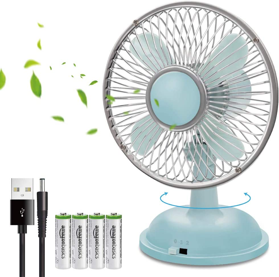 K18 5-Inch Oscillating Ultra Quiet Desktop Personal Fan Powered by USB or AA Batteries, with 2-Speed Options, Power Switch, Detachable USB Cord for Home Office Car Dorm Camping Traveling Gym - Blue