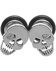 HOUSWEETY 316L Stainless Steel Hip-hop Personality Skull Screw Back Stud Earrings 10x6.5mm-1pair
