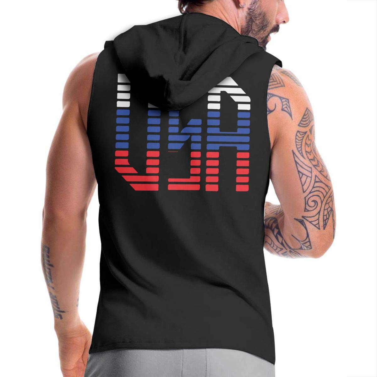 BMWEITIHBQ Mens Sleeveless Sweatshirt USA 4 Zipper Vest