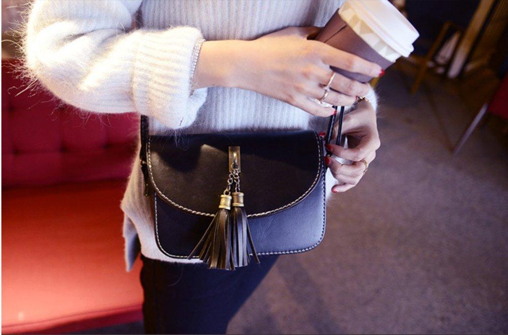 Brag Bag Small Black Leather Handbags For Women Mini Crossbody Purse Tassel Bag Womens Shoulder Bag by BragBag (Image #4)