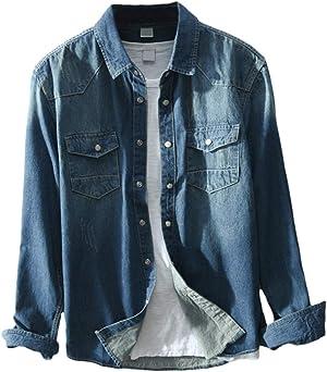 [YUNCLOS]デニムシャツ メンズ 長袖 デニムジャケット メンズ デニム 無地 カジュアル おしゃれ シャツ ウェスタンシャツ メンズ 長袖