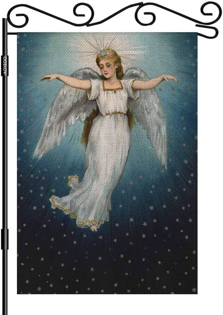 AOYEGO Angel Flying Garden Flag Small Vertical Double Sided 12.5 x 18 Inch Christmas in a Starry Night Sky Burlap Yard Outdoor Decor