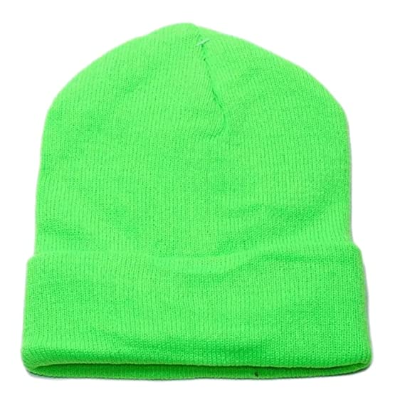 7ac2e3c891d Wholesale 4 Pieces Unisex Knit Long Cuff Ski Plain Neon Beanie Cap Solid  Color Beany (Neon Green) at Amazon Men s Clothing store