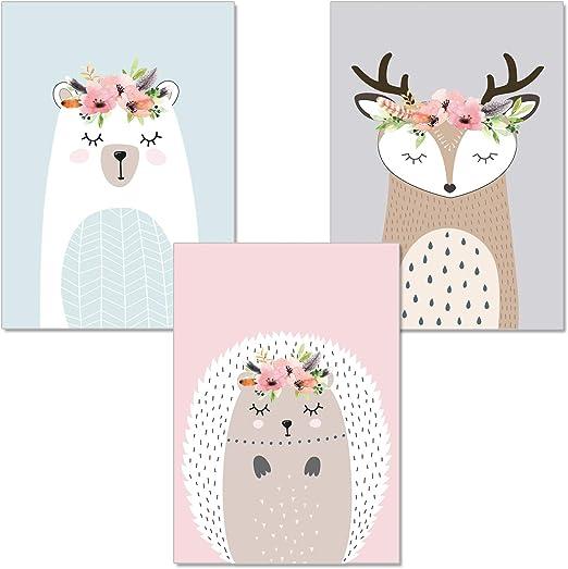 artpin® 3er-Set Poster Kinderzimmer Von Künstlerin, In Pastellfarben - A4  Wandbilder Für Mädchen Und Junge, Deko Im Skandinavischen Stil - ...