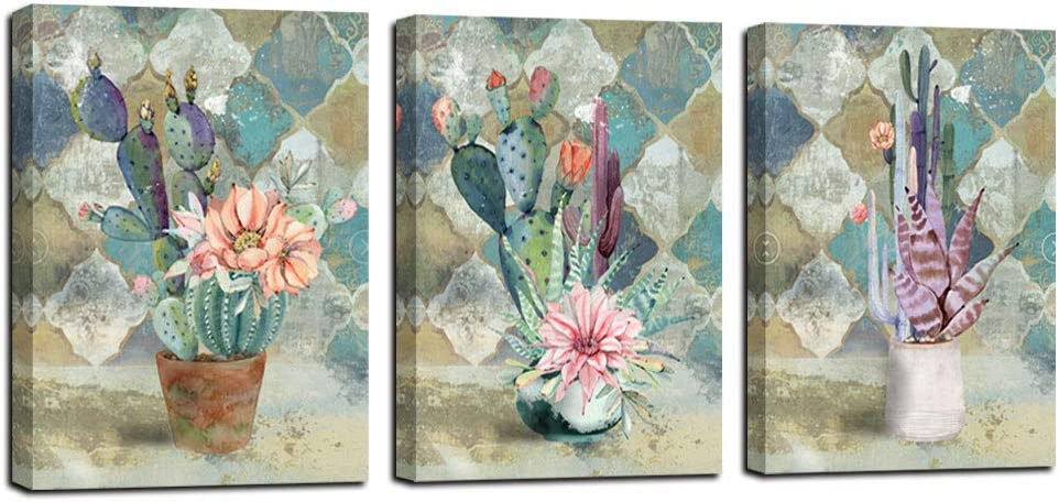 "Canvas Wall Art Cactus Painting Bathroom Decor Cacti Prints Watercolor Tropical Green Plants and Pink Flowers Vintage Retro Pictures, Succulent Poster Artwork 12""x16""x3 Panels for Bedroom Spa Salon Kitchen Home Office Decor"