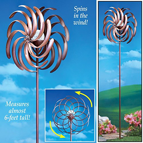 Solar Lighted Double Pinwheel Windspinner Metal Garden Stake Outdoor Yard Decoration by KNL Store