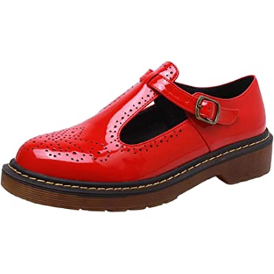 PPXID Women's Big Size Preppy Style T-Strap Carved Brogues Flats Oxfords Shoes Shoes | Shoes