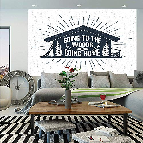 SoSung Cabin Decor Huge Photo Wall Mural,Retro Style Hand Drawn Label with Wooden Cabin Chalet Quote Hipster Lodge,Self-Adhesive Large Wallpaper for Home Decor 100x144 inches,Black White Grey