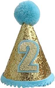 Finduat Baby Boy 2 Birthday Cone Hat, Baby Boy Birthday Tiara Adjustable Headbands for Baby Boy 2nd Birthday Party Supplies