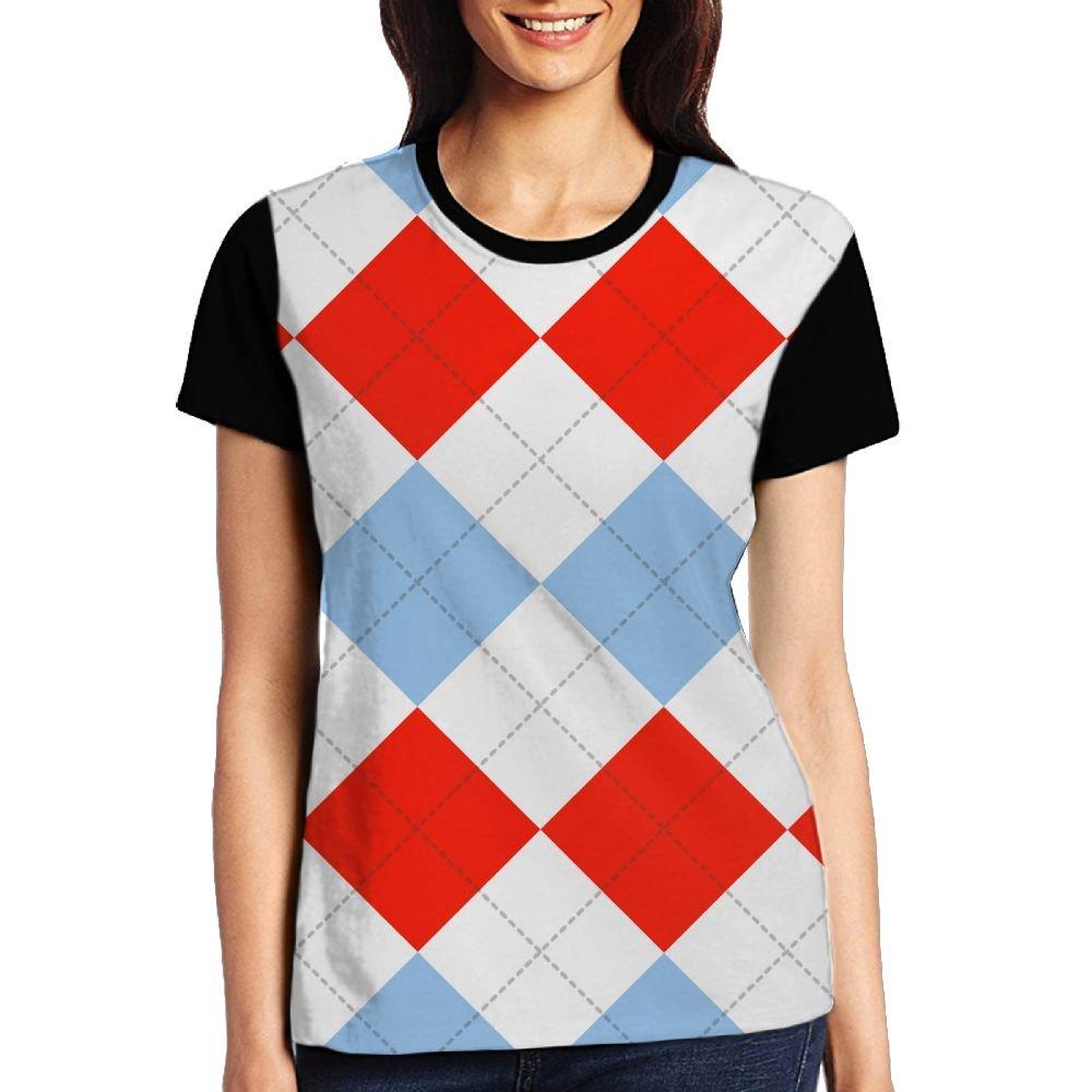 CKS DA WUQ Color Rhombus Plaid Women's Raglan T-Shirt Round Neck Sport Baseball Tees Tops Undershirts