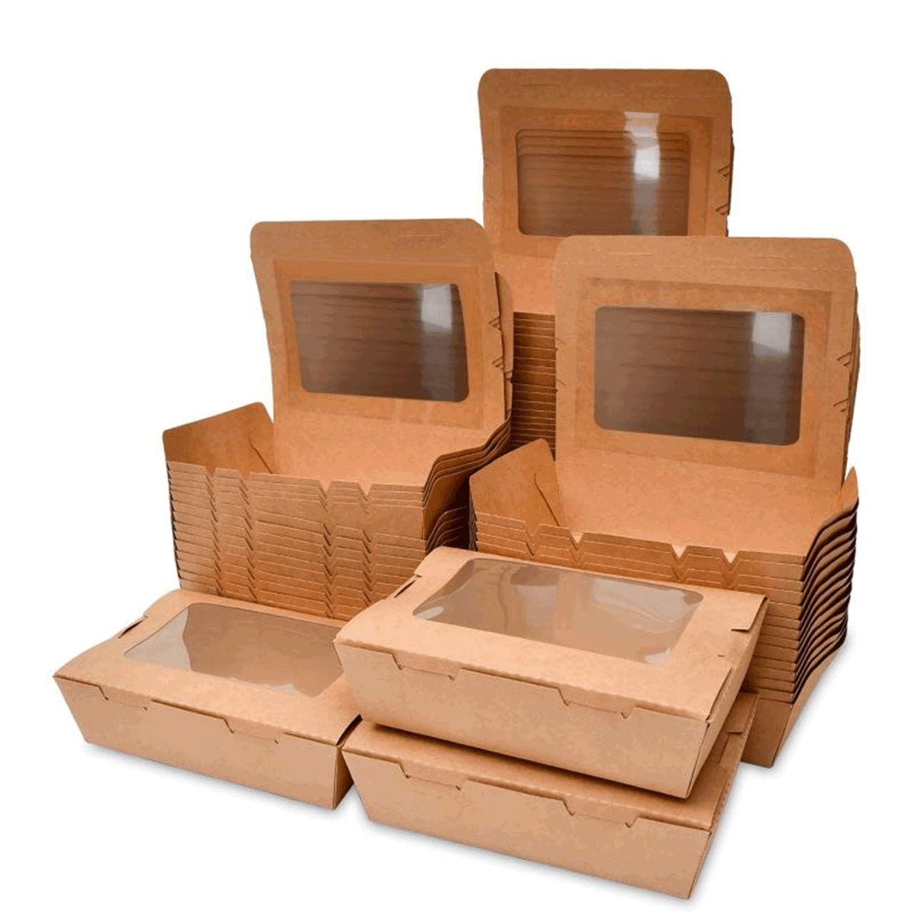 Take Out Food Containers 40 oz (50 Pack) Kraft Brown Take Out Food Boxes, With 18PE film Leak and Grease Resistant Food Containers - Recyclable Lunch Box With transparent window- To Go Containers for Restaurant, Catering and Party