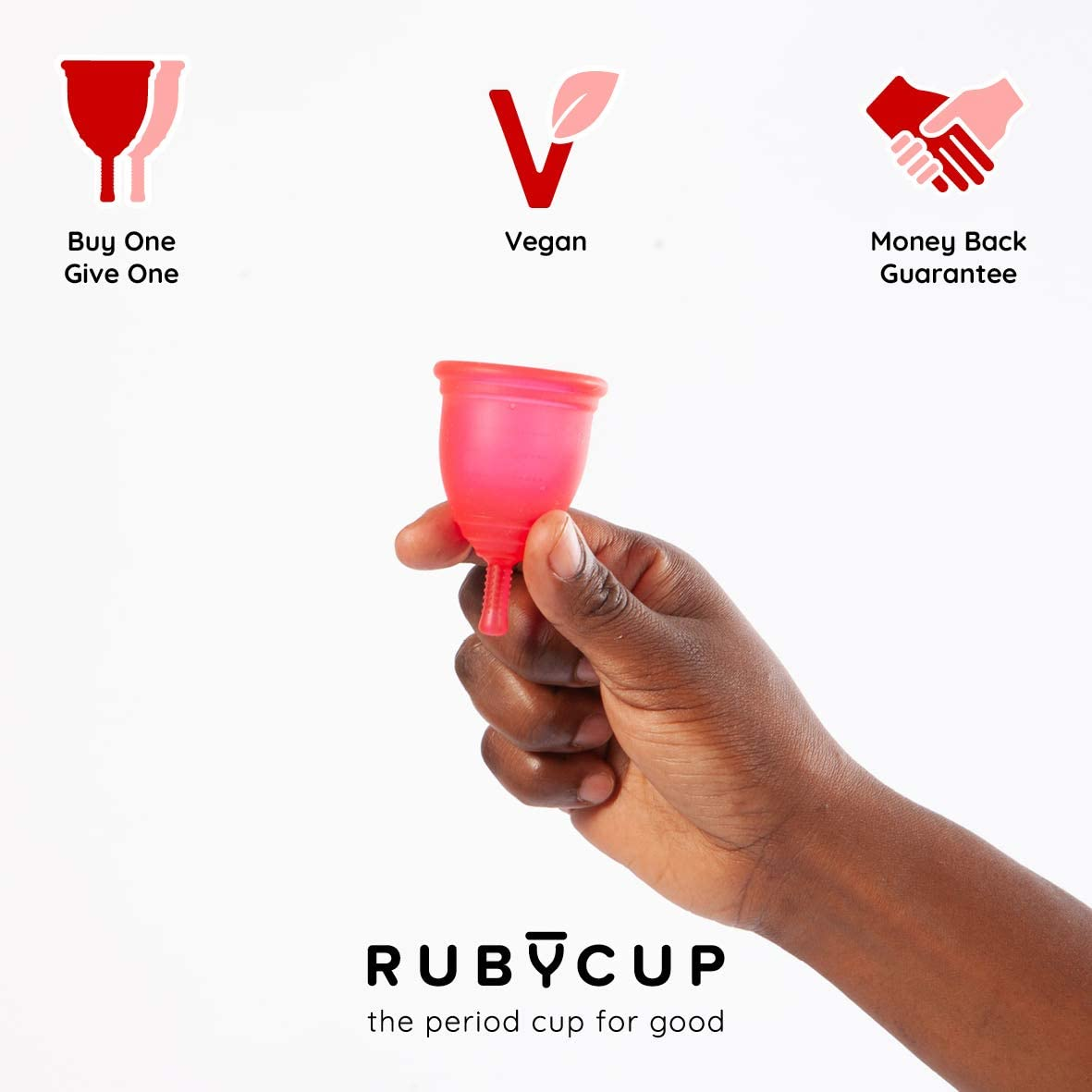 Ruby Cup - Copa menstrual hipoalergenica- talla S (pequeña, flujo ligero) – ROJA – Incluye donación de copa. Perfecta para principiantes. Una ...