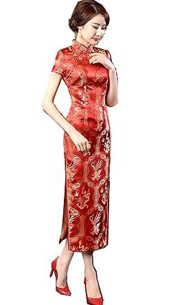be87ab14161 Amazon.com  Shanghai Story Long Chinese Wedding Dress Qipao Cheongsam Party Dress  Gown  Clothing