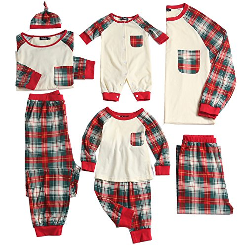 PopReal Baby Plaid Family Matching Clothes Long Sleeve Jumpsuits Christmas Pajamas Set (Family Christmas Clothes)