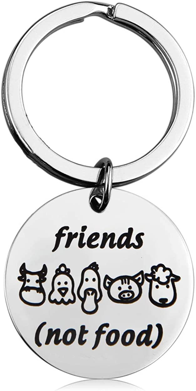 MAOFAED Vegan Gift Vegetarian Gift Animal Lover Gift Animal Rescue Gift Friends Not Food Vegan Keychain