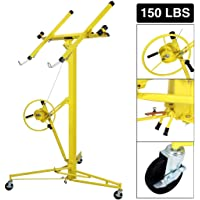 Idealchoiceproduct 16' Drywall Lift Rolling Panel Hoist Jack Lifter Construction Caster Wheels Lockable Tool Yellow