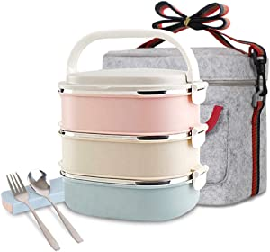 Unichart Stainless Steel Square Lunch Box with Container Bag, Spoon and Fork, Perfect for Salads Sandwiches, Snacks(3-Tier)