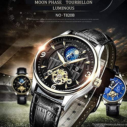 Montre mécanique Automatique de pour Homme de Phase de Lune Montre Homme Squelette Lumineux Montre-Bracelet en Cuir décontracté, Noir