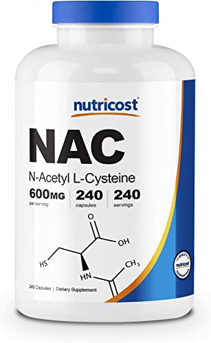 Nutricost N-Acetyl L-Cysteine NAC 600mg, 240 Veggie Capsules – Non-GMO, Gluten Free, Vegetable Caps 240 Caps