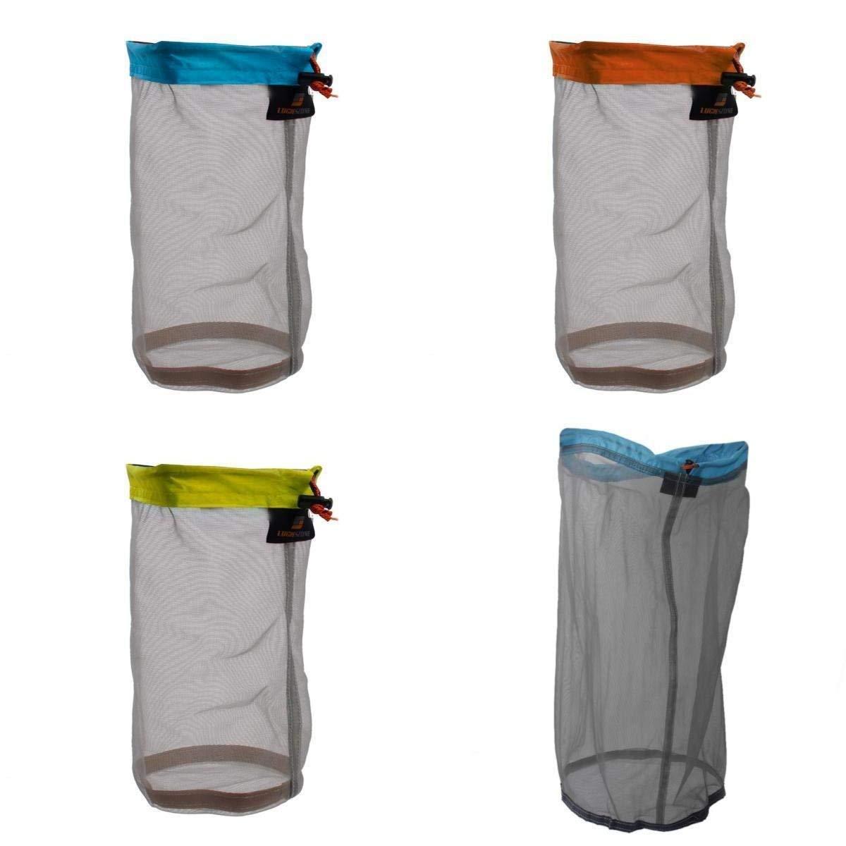 Yundxi ultraléger Ultra Sac de Maille Cordon de Serrage Ensemble de Sacs de Rangement pour Voyage Camping Randonnée Set of 4 Pieces 4pcs