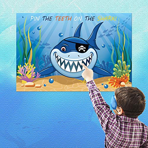Konsait Pin the Teeth on the Shark Game Poster for Boys Girls Kids Ocean Sea Sharknado Decor Under the Sea Pool Beach Baby Shower Birthday Party favor Supplies Decoration