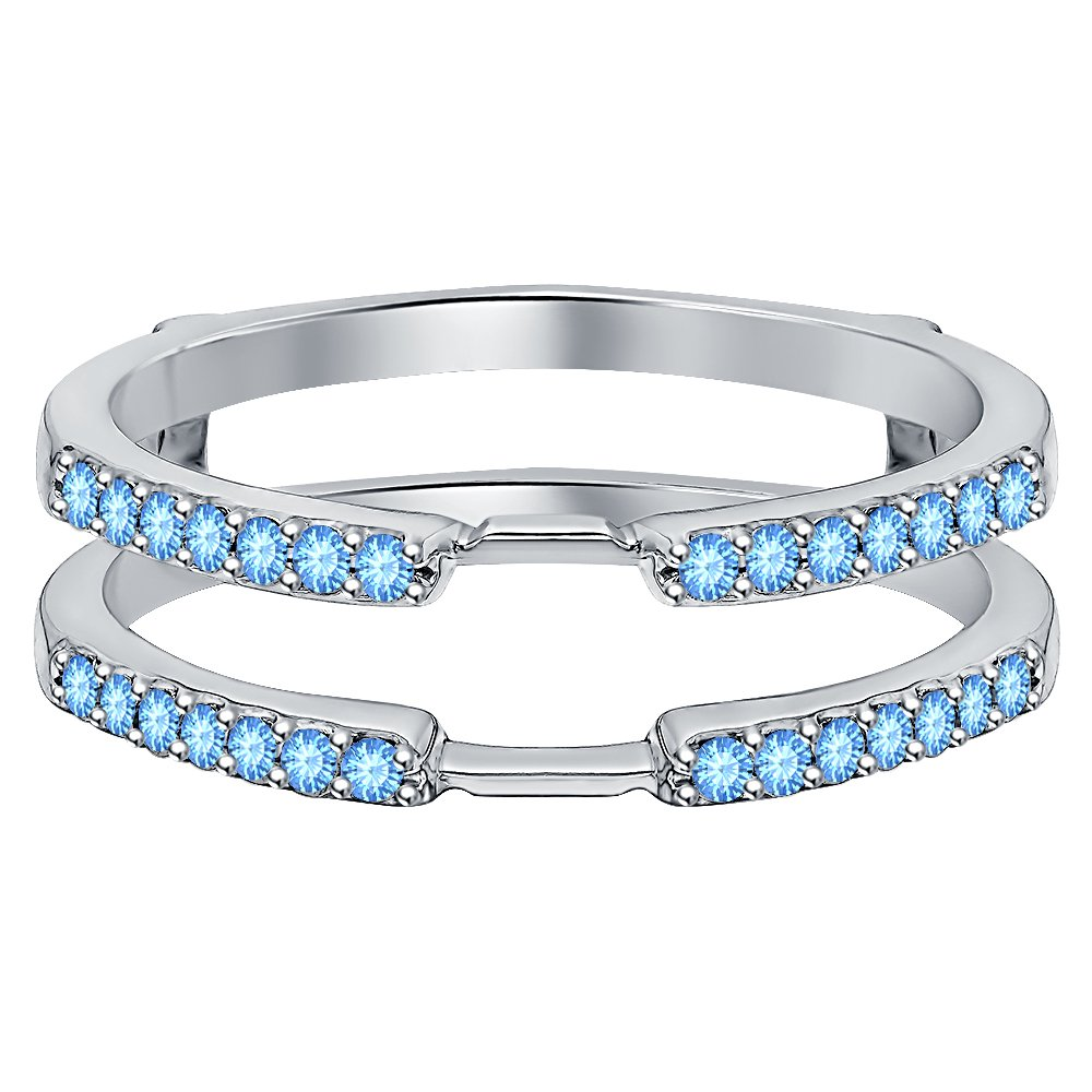 tusakha 1/3ct Blue Topaz 14K White Gold Plated Anniversary Delicate Traditional Style Ring Guard Enhancer