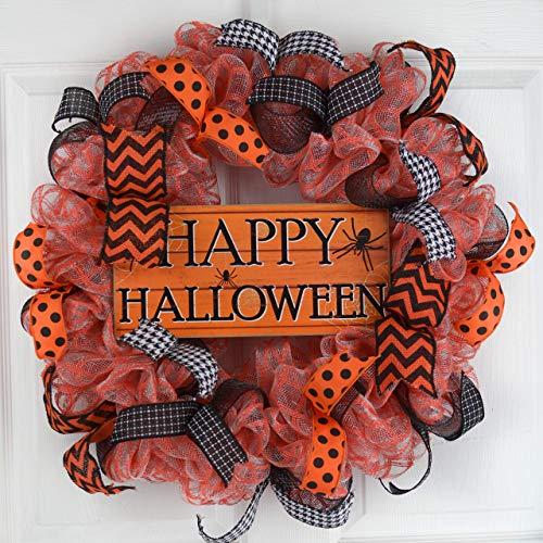 Halloween Mesh Decorations (Happy Halloween Door Wreaths | Spider Mesh Outdoor Front Door Wreath; Black Orange)