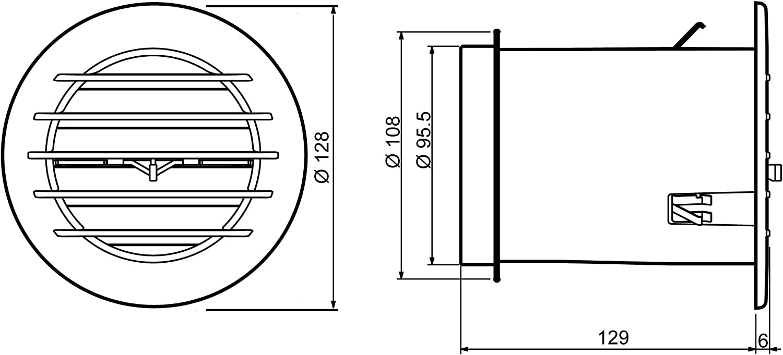 La ventilaci/ón act10cb-y act10cb AIRCONTROL Rejilla Redonda Con V/álvula termost/ática para clima Mite di/ámetro 128/mm blanco