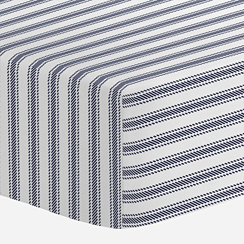 Carousel Designs Windsor Navy Ticking Stripe Crib Sheet - Organic 100% Cotton Fitted Crib Sheet - Made in the USA