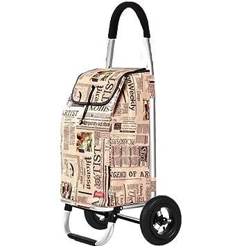 Carrito De Compra Plegable Sin Ruido Aleación De Aluminio 2 Ruedas Ligero Trolley,Bolsa De Compras Gran Capacidad 55L,Size 100*48*39CM,Newspaperpattern: ...