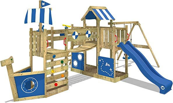 Wickey Parque Infantil De Madera Arcticflyer Con Columpio Y Tobogán Azul Casa De Juegos De Jardin Con Arenero Y Escalera Para Niños Amazon Es Bricolaje Y Herramientas